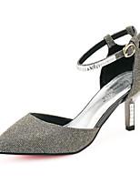 Chaussures Femme Similicuir Kitten Heel Confort/Bout Pointu Escarpins / Talons Bureau & Travail/Habillé/Décontracté Gris/Or
