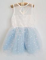 Girl's  Dot Transparent Shoulder Dress