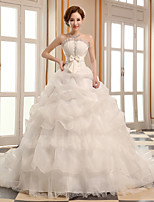 A-line Wedding Dress - Ivory Cathedral Train Scalloped-Edge Organza