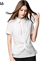 Women's Turn-down Collar Fashion Patchwork Short Sleeve Office Lady Elegant Shirt