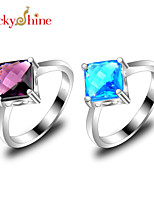 Lucky Shine Women's Men's Unisex Silver Special Rings With Gemstone Fire Square Blue Topaz Amethyst Crystal Jewelry