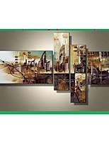 100% Hand-painted The City Landscape Abstract Oil Painting on Canvas 4pcs/set No Frame