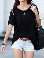 Damen T-Shirt  -  Ausgehöhlt Baumwolle Kurzarm Rundhalsausschnitt