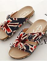 Women's Shoes Denim Flat Heel Open Toe Sandals Casual Black/Orange
