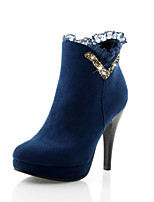 Women's Shoes Fleece Stiletto Heel Round Toe Boots Dress Black/Blue