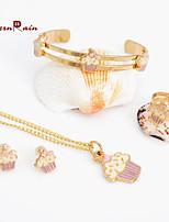 WesternRain Free shipping Gold Plated Purple Ice-cream necklace Bangle Bracelet Set for children kids jewlery
