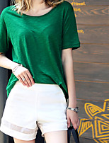 Women's Solid Green T-shirt , Round Neck Short Sleeve