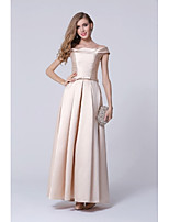 Formal Evening Dress Aline Off-the-shoulder Floor-length Polyester Dress