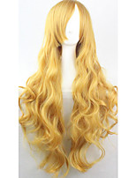 Cos Anime Bright Colored Wigs Long Yellow Curly  Hair Wig 80 cm