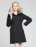 Women's Solid Black/Beige Down Coat , Casual Long Sleeve Pocket/Ruched