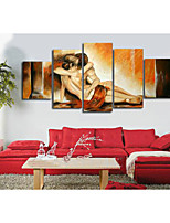 100% Hand-painted NAbstract Yellow Women Boy Love  Abstract Oil Painting on Canvas 5pcs/set No Frame