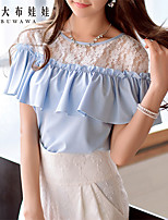 Pink Doll®Women's Round  Casual/Lace Patchwork Sleeveless Shirt