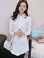 Women's Casual Inelastic Long Sleeve Long Shirt (Microfiber)