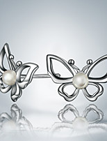 Cute/Party/Casual Silver Plated Butterfly Design Stud Earrings