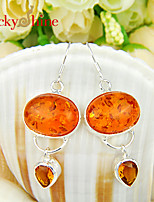 Oval Fire Amber Brazil Citrine Gem Bezel Setting Earring Drop Earrings For Wedding Party Daily 1pair