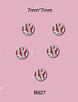 B627 Nail Art 2015 Hot 10pcs/Lot Red Silver Rhinestone Nail Alloy 7mm*7mm Nails Care Art Decoration