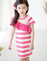Girl's Cute Summer Stripes Short Sleeve Dresses (Cotton)