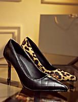 Women's Shoes Fleece Stiletto Heel Heels/Pointed Toe Pumps/Heels Dress Black/Red/Animal Print