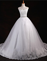 A-line Floor-length Wedding Dress -Scoop Tulle