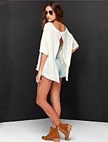 Damen T-Shirt  -  Rückenfrei Baumwolle/Mikrofaser ½ Länge Ärmel Rundhalsausschnitt
