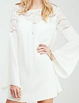 Women's Casual Round Long Sleeve Dresses (Chiffon/Lace)