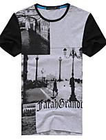 Camiseta De los hombres Trabajo/Tallas Grandes Estampado - Algodón/Licra/Poliéster - Manga Corta