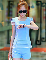 Women's Casual Micro-elastic Short Sleeve Regular T-shirt (Cotton/Polyester)