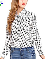 ZAY Women's Casual/Work Dot Print Long Sleeve Regular Shirt