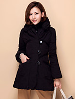 Women's Solid Coat , Casual Long Sleeve Button/Ruched