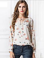 Women's Casual/Print Inelastic Long Sleeve Regular Shirt (Chiffon)