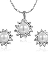 T&C Women's Lovely 18K White Gold Plated Clear Austria Crystal Pearl Sun Flower Pendant Necklace Earrings Set