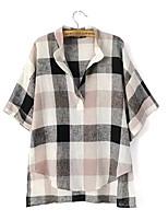 Women's Summer Vintage/Casual/Plaid Print Inelastic V Neck Short Sleeve Regular Loose Blouse Shirt (Linen)