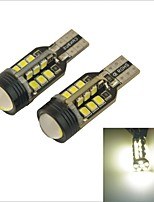 Carking™ Car T15 3528 24 SMD LED Bulb 3W Reverse Light Back Up Light-White Light(2PCS)