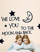 stickers muraux de style de décalques de mur lune étoile mots anglais&cite muraux PVC autocollants