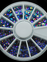 W127 Blue Color Half Round Rhinestone Round Wheels 300pcs/Set Nail Art Different Size Cell Phone decor
