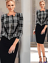 Monta Women's Vintage/Sexy/Party ½ Length Sleeve Dresses (Cotton Blend)