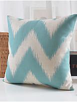 bleu de motif géométrique coton / lin taie d'oreiller décoratif