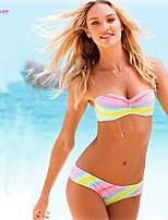 Women's Bandeau Bikinis , Color Block/Floral/Bandage Push-up/Underwire Bra/Padless Bra Polyester/Spandex Multi-color