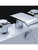 Chrome Brass Two Handles Widespread Waterfall Bathroom Sink Faucet