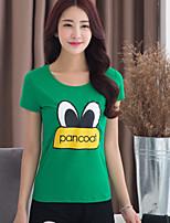 BIAOSHANG®Women's Casual Print Plus Sizes Micro-elastic Short Sleeve Regular T-shirt (Cotton)