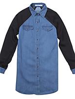 Women's Casual Plus Sizes Inelastic Long Sleeve Long Shirt (Chiffon Cotton Denim)