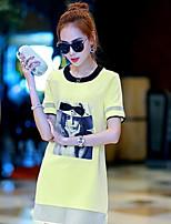 Women's Print White/Black/Yellow T-shirt , Round Neck Short Sleeve Lace