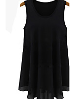 Women's Solid Black Blouse , Casual/Plus Sizes Round Neck Sleeveless