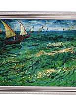 Impressionism Sea & Ship with Silver Colour Framed Canvas Print