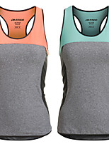 mujeres inserción de malla de nylon spandex logo reflectante deportes respirables gimnasio singlete corriendo