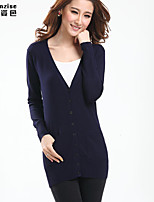 Women's Solid Blue/Pink/Black/Green/Yellow Cardigan , Casual Long Sleeve Hollow Out