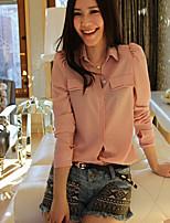 Women's Pink/Green Shirt , Shirt Collar Long Sleeve