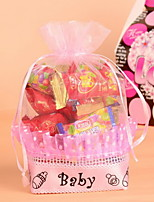 Pink and Blue Basket Shape Organza Baby  Candy Favor Bags  Set of 12