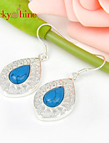 Drop Fire Blue Turquoise Gem Bezel Setting Earring Drop Earrings For Wedding Party Daily 1pair