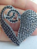Women Accessories Wedding Gray Black Rhinestone Crystal Love Heart Brooch Wedding Deco Crystal Brooch